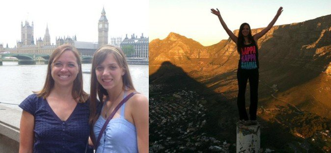 Right: Taylor and Cathi in London, Left: Taylor at Lion's Head, Cape Town, SA
